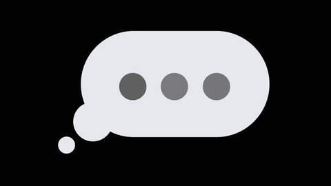 A simple element of a thought bubble, email, or text message popping up, with typing or thinking dots slowly pulsing inside of it, reminiscent of someone taking a long time to type a message