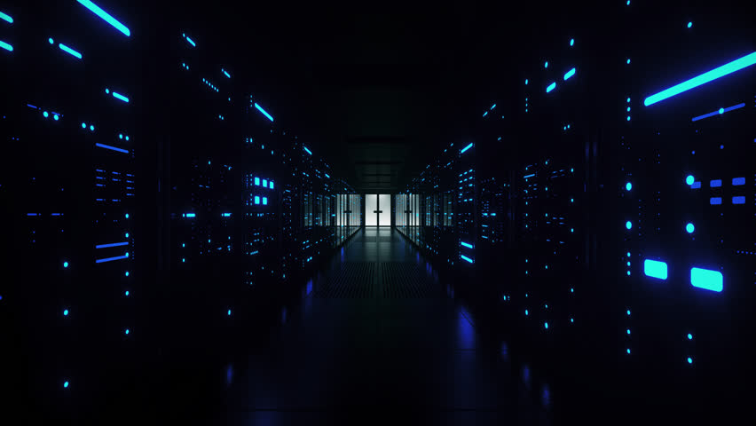 Network and data servers behind glass panels in a server room of a data center or ISP with flickering lights. Forward Dolly Shot, 4K High Quality Animation #1025735357
