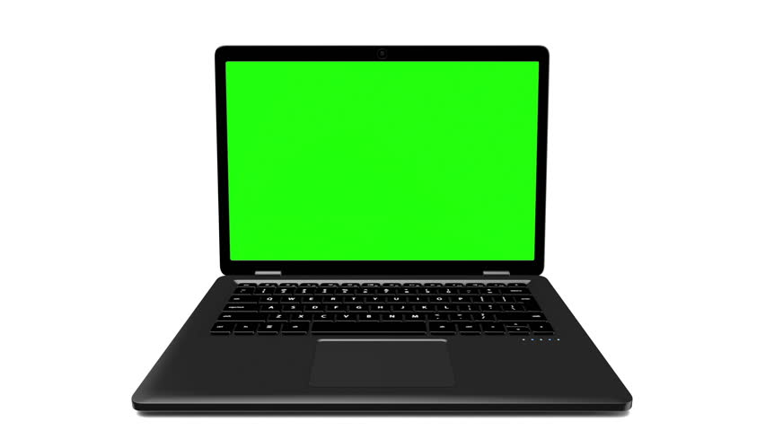Modern black laptop appearing on a white background with a green screen. 4k animation #1025736167
