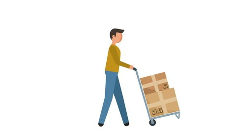 Stick Figure Pictogram Man push a loaded cart Character Flat Animation