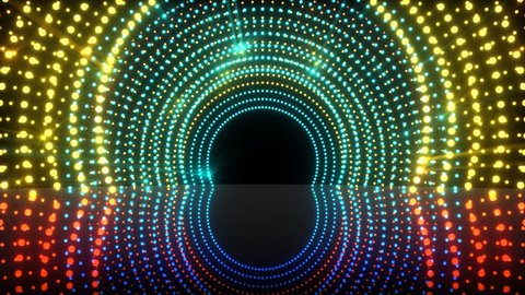 Seamless loop 3D animation of light tunnel stage for your video backgrounds, concert visual performances, presentations, dance parties, music clips, projection mapping, nightclubs, corporate events