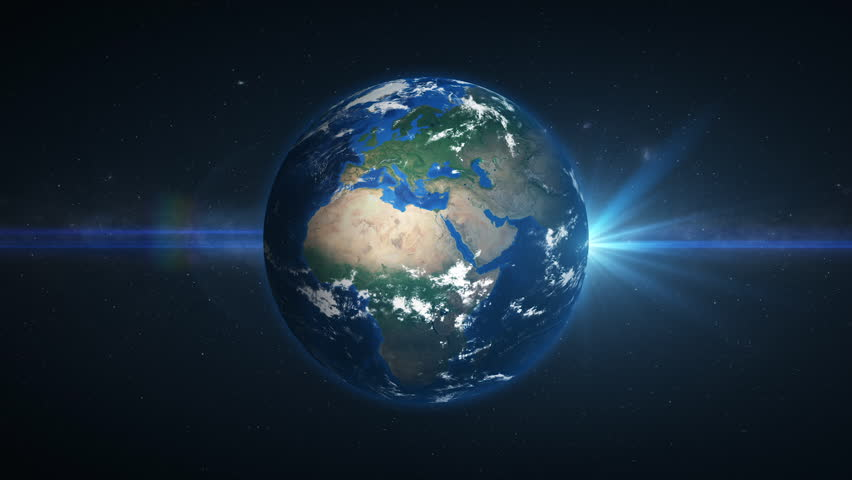 3D Earth loop rotation in space with lens flare effects. Realistic and very high quality. Seamlessly loopable.  | Shutterstock HD Video #1025816387