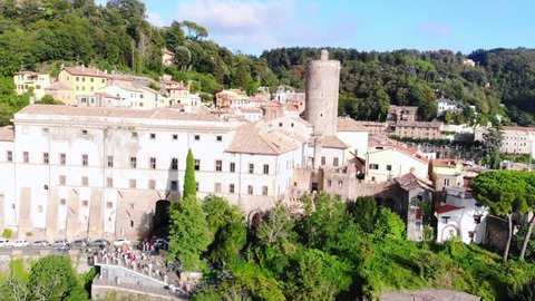 Aerial view of the mediaeval town in Italy. Nemi ancient city. Situated near the old volcano. One of the famous tourist destinations in Lazio near a Rome.