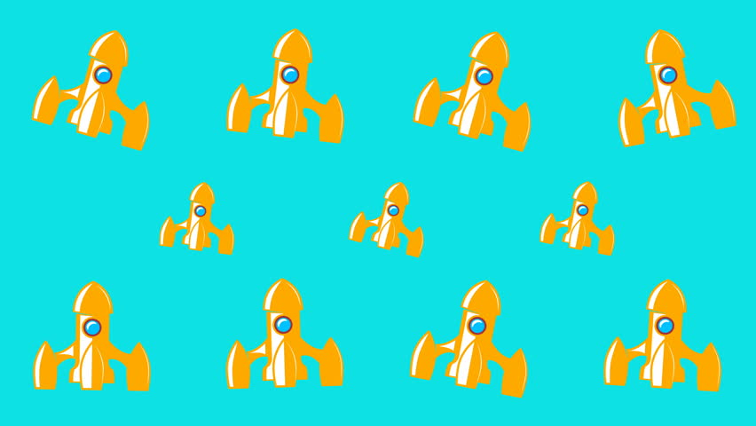 Animated background with space rockets | Shutterstock HD Video #1025823047