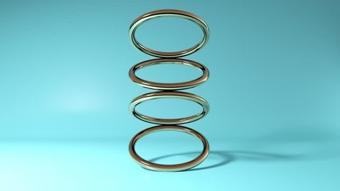 Abstract 3D gold ring tours rotating on blue background. 4k seamless loop animation footage.