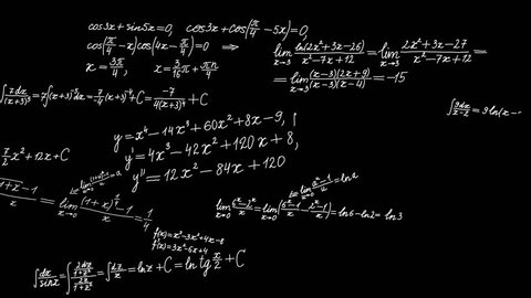 Background with math formulas moving from right to left. Math calculations or formulas writing in chalk on black board, computer generated loopable motion background. 4K mov footage.