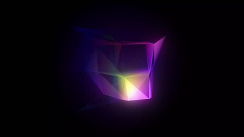 Video with transforming abstract luminous geometric shapes on a black background. Ultra HD 4K movie. Screensaver for game, film or player, 3d digital animation for computer and mobile display.