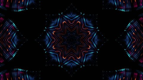Abstract colorful digital kaleidoscopic loopable motion graphic background. Futuristic loop psychedelic hypnotic backdrop
