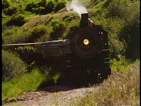 HEBER VALLEY, UTAH, 1994, Heber Valley steam train, locomotive passes slowly