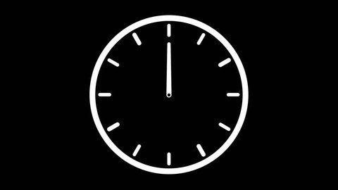 Clock Animation  in 12 Hour Loop on Alpha Transparency