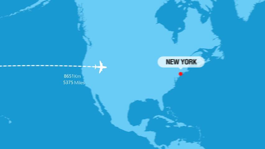 Tokyo to New York Flight Travel Route | Shutterstock HD Video #1025901857