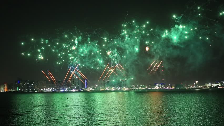 Fireworks lighting up the sky as part of Mother of the Nation Festival celebrations in Abu Dhabi, UAE | Shutterstock HD Video #1025924837