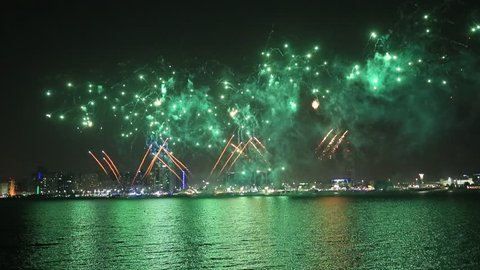 Fireworks lighting up the sky as part of Mother of the Nation Festival celebrations in Abu Dhabi, UAE