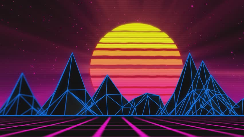 Cool 80s background animation. Inspired by synthwave and new retro wave music and art. | Shutterstock HD Video #1025936267