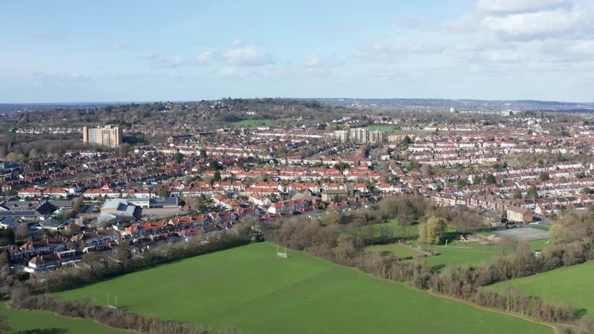 Aerial footage of a suburban city   Shutterstock HD Video #1025940347