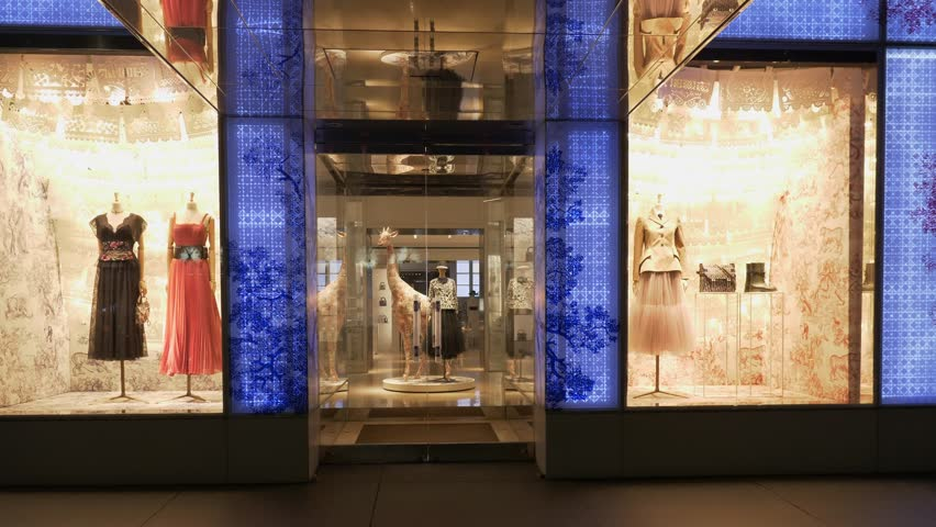 New York City United States of America January 26th 2019_ Dior fashion and luxury store at night in New York City