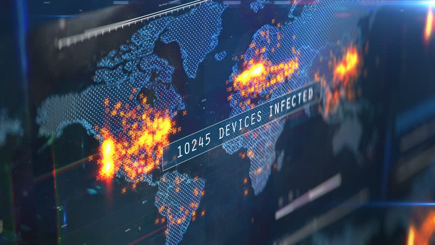 Number of gadgets and computers infected with virus, global hacking attack. Countdown of infected computers and devices | Shutterstock HD Video #1025942717