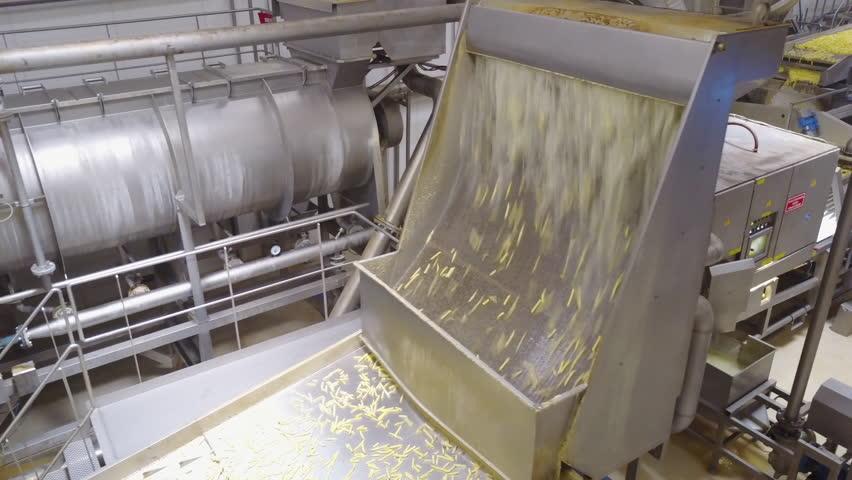 Drone camera showing potato processing machine in frozen food factory | Shutterstock HD Video #1025942987