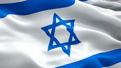 Silk Flag Animation of Israel flag video waving in wind. Realistic Jewish Flag background. Israel Flag Looping Closeup 1080p Full HD 1920X1080 footage. Israel Jerusalem Israeli country flags
