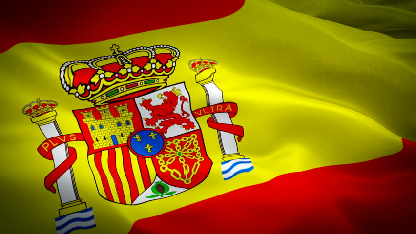 Flag of Spain flag video waving in wind. Realistic Spanish Flag background. Spain Flag Looping Closeup 1080p Full HD 1920X1080 footage. Madrid Spain EU Europe country flags footage video for film,news