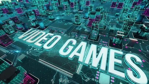 Video games with digital technology concept