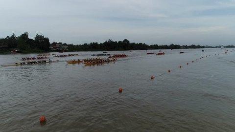 kuching sarawak 17 sept. 2018 : view drone dramatic boat race festival regatta sarawak at river sarawak