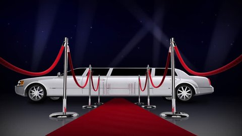 Red Carpet Hollywood Nights 4K Loop features a red carpet with side sashes leading the viewer to a waiting whit limousine with animated searchlights against a dark blue starry night sky in a loop