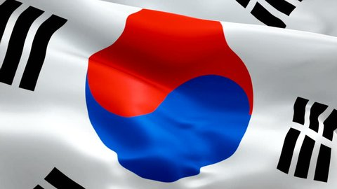 Silk Flag Animation of South Korea flag video waving in wind. Realistic Korean Flag background. South Korea Flag Looping Closeup 1080p Full HD 1920X1080 footage. South Korea Asian country flags