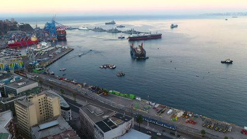 Aerial drone view of the harbor port of San Antonio and the City, Valparaiso, Chile.