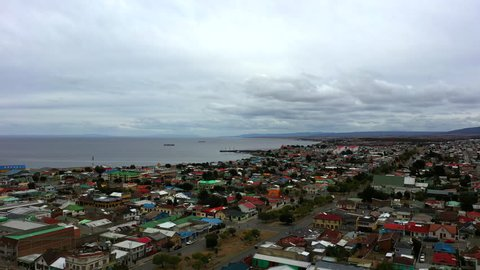 Aerial drone view of majestic Punta Arenas city, Chile. Patagonia, South America