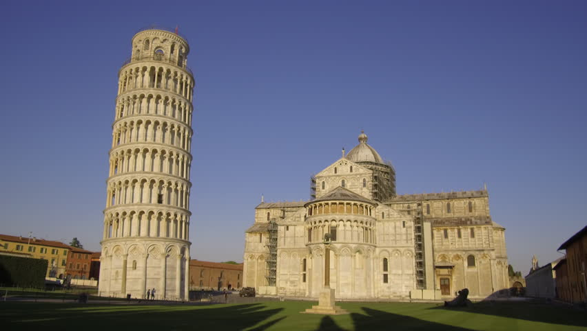 Static shot of Duomo & Leaning Tower of Pisa at sunrise, Italy   Shutterstock HD Video #1026092957