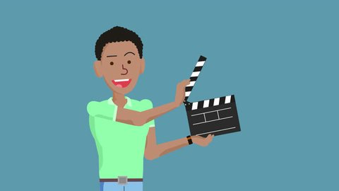 Cartoon Character Afro American Man claps the Clapperboard