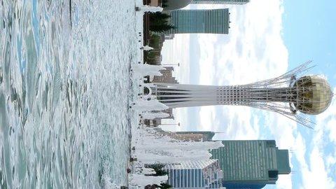 Vertical video. Astana, Kazakhstan - September 5, 2016: Baiterek - The central point of interest of the new Astana, Nur-Sultan