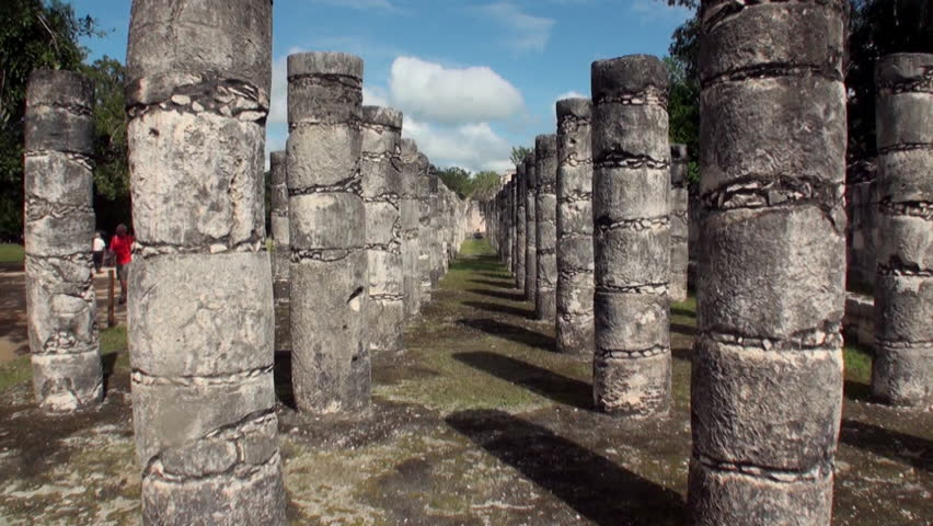 Columns and pillars of warrior temple ruins Chichen Itza Mexico Yucatan. Temple warriors of Mexican historic ancient monument of Mayan architecture.