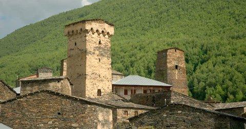Static close up  of the stone medieval fortified Svaneti tower houses of  Ushguli, Upper Svaneti, Samegrelo-Zemo Svaneti, Mestia, Georgia.