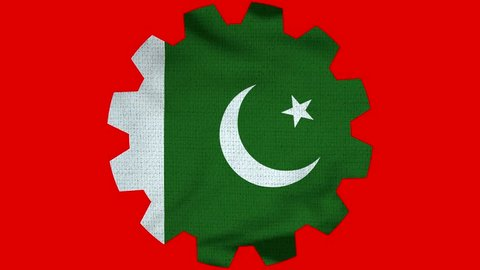 Pakistan Gear Flag Loop - Realistic 3D Illustration 4K - 60 fps flag of the Pakistan - waving in the wind. Seamless loop with highly detailed fabric texture. Loop ready in 4k resolution