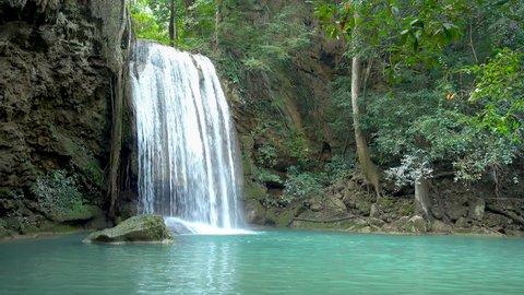 Erawan Waterfall tier 3, in National Park at Kanchanaburi, Thailand