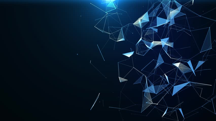 Plexus of abstract blue geometrical lines with moving triangles and dots animations. | Shutterstock HD Video #1026352097