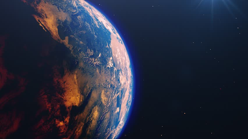 Beautiful sunrise world skyline. Planet earth from space. Planet earth rotating animation. Clip contains space, planet, galaxy, stars, cosmos, sea, earth, sunset, globe. 4k 3D Render. Images from NASA | Shutterstock HD Video #1026352547