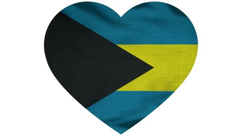 Bahamas Heart Flag Loop - Realistic 3D Illustration 4K - 60 fps flag of the Bahamas - waving in the wind. Seamless loop with highly detailed fabric texture. Loop ready in 4k resolution
