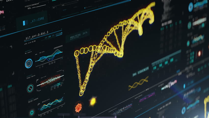 DNA molecule chain analyzed on screen, genetic research, cloning, forensics. 8k, large resolution video. DNA molecules analysis, biochemistry, statistics in graphs and charts