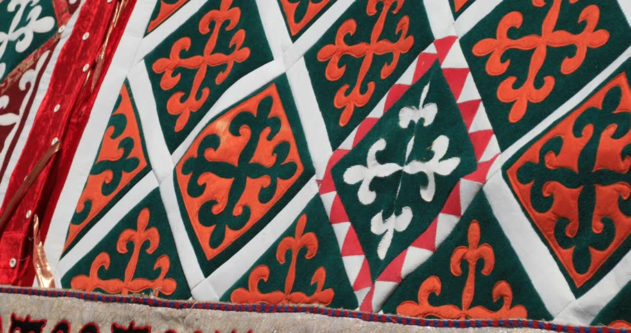 Kazakh national carpet with traditional ornaments   Shutterstock HD Video #1026398987