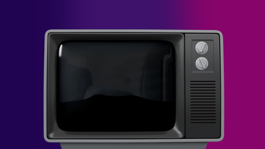 Digital composite of retro TV turn on and palm and building and turn off after | Shutterstock HD Video #1026421367