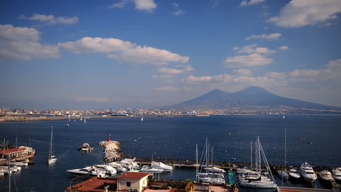 Time Lapse Aerial View of Naples Port Skyline Yachts Docked in Porto Santa Lucia