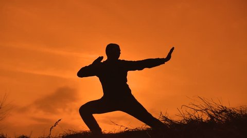 man martial arts concept. male warrior monk practicing kung fu. silhouette of a man at sunset engaged in martial arts karate lifestyle