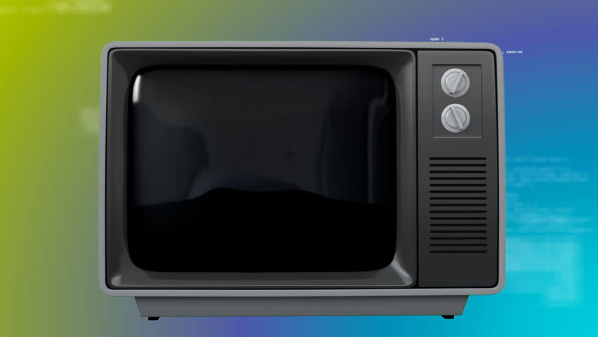 Digital animation of an old TV set with cityscape on the blue screen against codes on a green and blue background.  | Shutterstock HD Video #1026477527