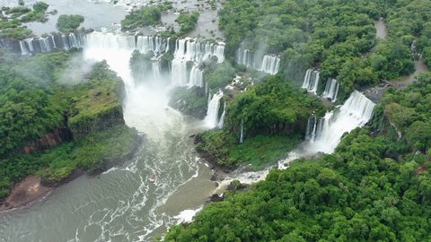 Aerial view of Iguazu Falls, monumental waterfall system on Iguazu River, Salto San Martin and other waterfalls - landscape panorama of Brazil/Argentina border, South America