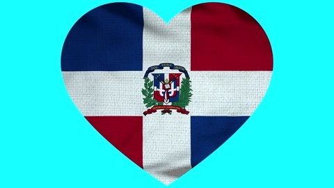 Dominican Republic Heart Flag Loop - Realistic 3D Illustration 4K - 60 fps flag of the Dominican Republic- waving in the wind. Seamless loop with highly detailed fabric texture.