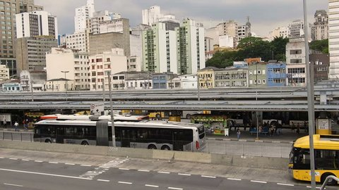 Sao Paulo, SP, Brazil, December 11, 2018. Transit of vehicles in the Avenue of the State next to the entrance of the Bus Terminal of the Park Dom Pedro II, in the center of Sao Paulo