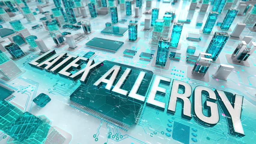 Latex Allergy with medical digital technology concept | Shutterstock HD Video #1026580637